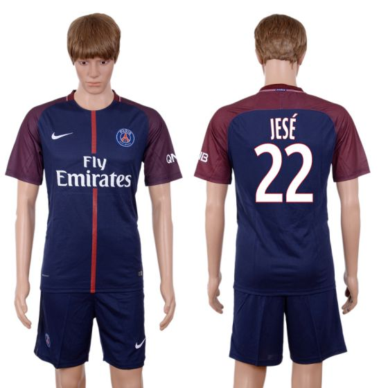 Men 2017-2018 club Paris St Germain home 22 blue soccer jersey