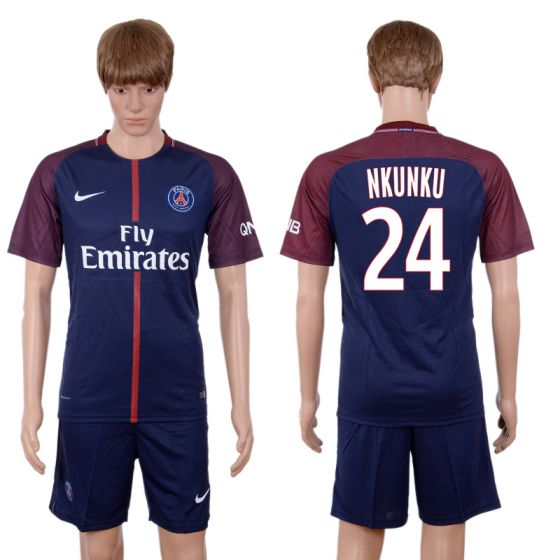 Men 2017-2018 club Paris St Germain home 24 blue soccer jersey