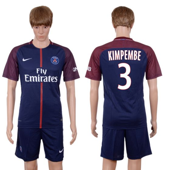 Men 2017-2018 club Paris St Germain home 3 blue soccer jersey