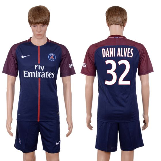 Men 2017-2018 club Paris St Germain home 32 blue soccer jersey