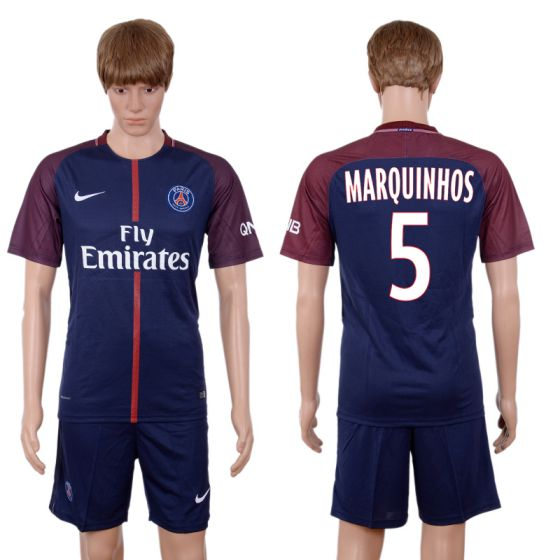 Men 2017-2018 club Paris St Germain home 5 blue soccer jersey