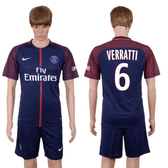 Men 2017-2018 club Paris St Germain home 6 blue soccer jersey