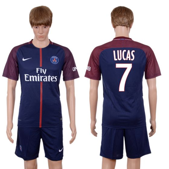 Men 2017-2018 club Paris St Germain home 7 blue soccer jersey