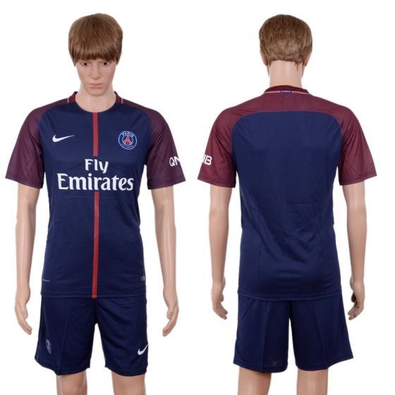 Men 2017-2018 club Paris St Germain home blank blue soccer jersey