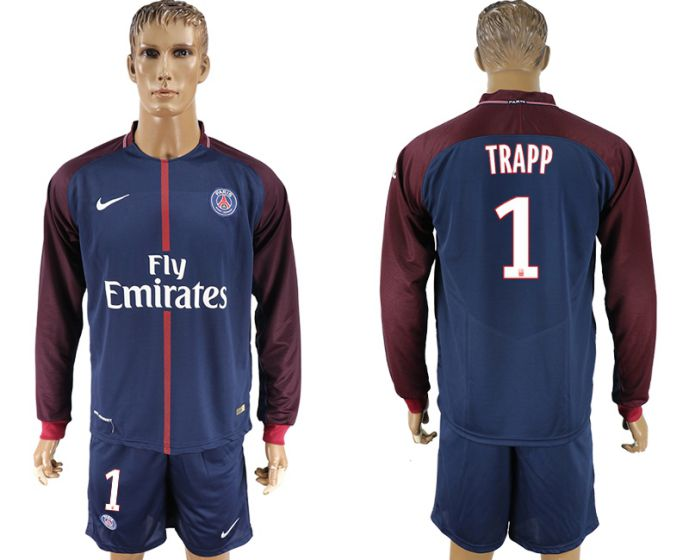 Men 2017-2018 club Paris St Germain home long sleeve 1 soccer jersey