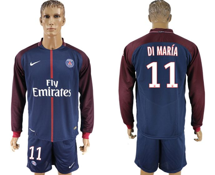 Men 2017-2018 club Paris St Germain home long sleeve 11 soccer jersey