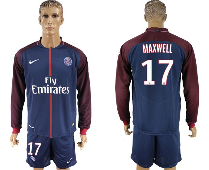 Men 2017-2018 club Paris St Germain home long sleeve 17 soccer jersey