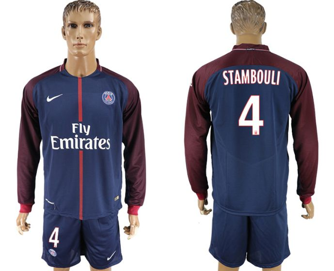 Men 2017-2018 club Paris St Germain home long sleeve 4 soccer jersey