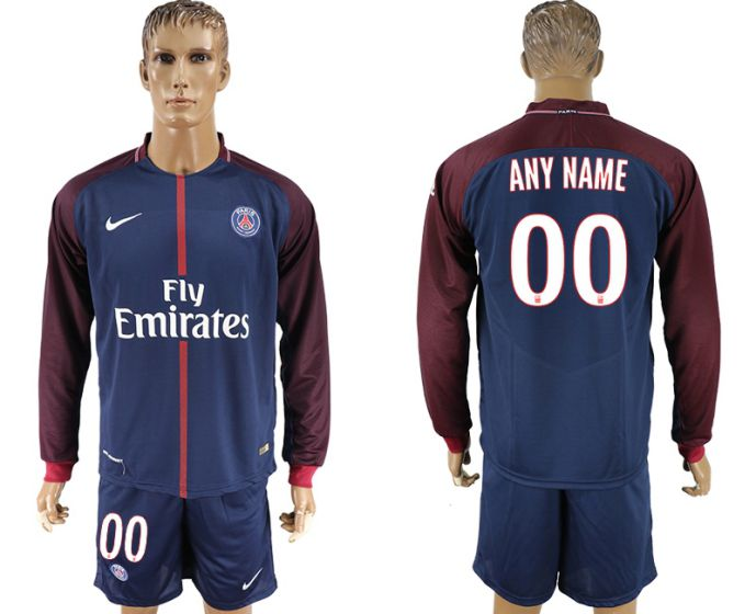 Men 2017-2018 club Paris St Germain home long sleeve customized soccer jersey