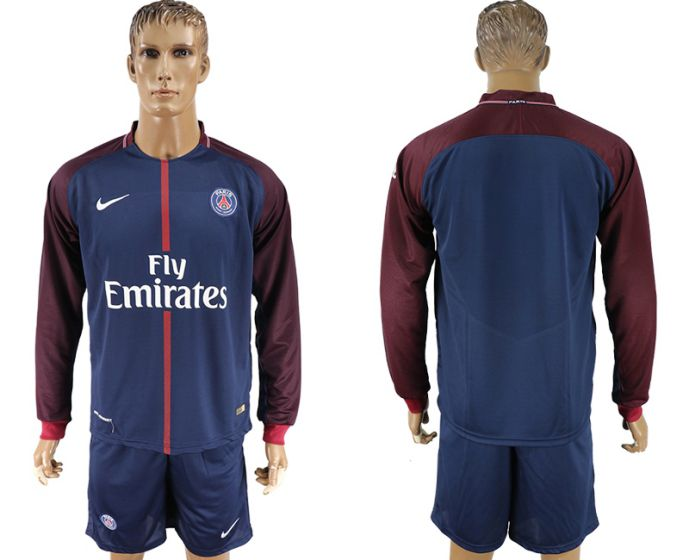 Men 2017-2018 club Paris St Germain home long sleeve soccer jersey