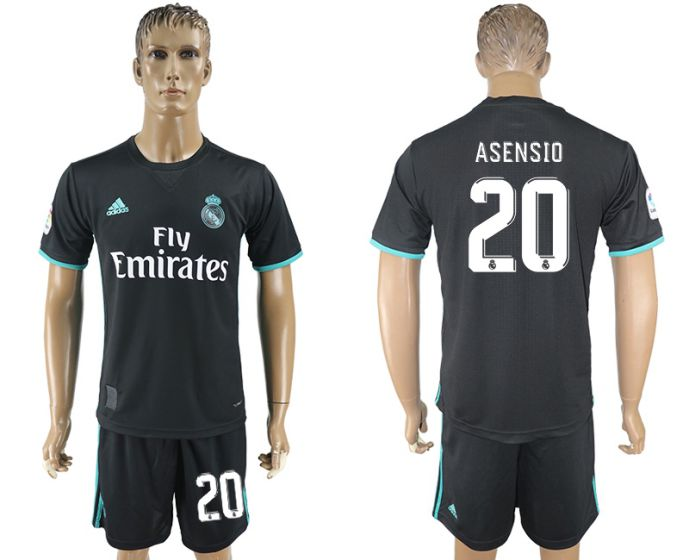 Men 2017-2018 club Real Madrid away 20 black soccer jersey