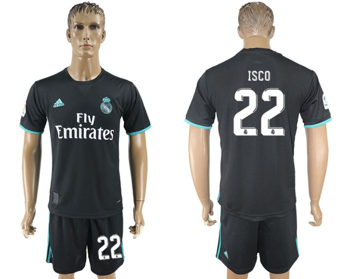 Men 2017-2018 club Real Madrid away 22 black soccer jersey