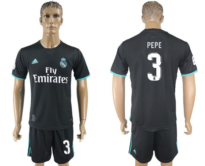 Men 2017-2018 club Real Madrid away 3 black soccer jersey