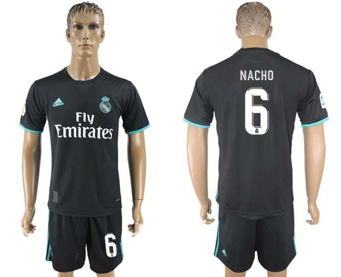 Men 2017-2018 club Real Madrid away 6 black soccer jersey