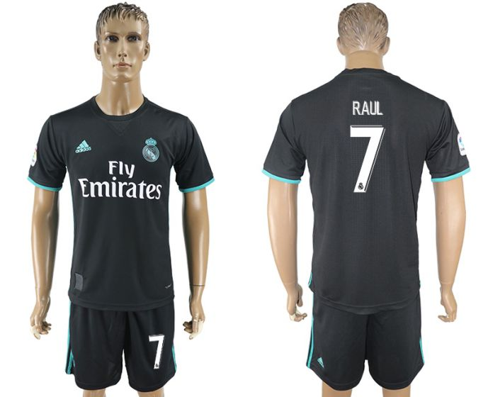 Men 2017-2018 club Real Madrid away 7 Raul black soccer jersey