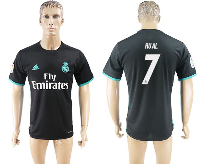 Men 2017-2018 club Real Madrid away aaa 7 Rual black soccer jersey