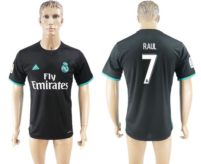 Men 2017-2018 club Real Madrid away aaa 7 black soccer jersey