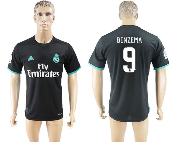Men 2017-2018 club Real Madrid away aaa version 9 black soccer jersey