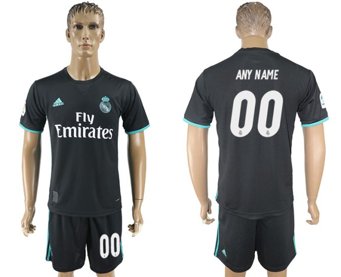 Men 2017-2018 club Real Madrid away customized black soccer jersey