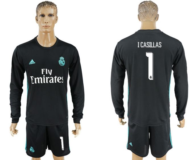 Men 2017-2018 club Real Madrid away long sleeve 1 Icasillas black soccer jersey