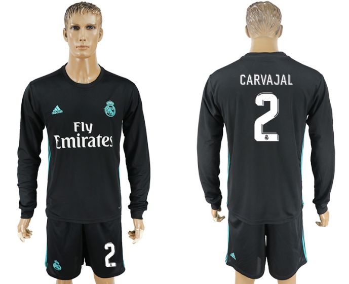 Men 2017-2018 club Real Madrid away long sleeve 2 black soccer jersey