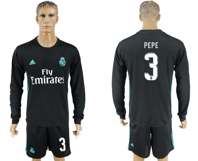Men 2017-2018 club Real Madrid away long sleeve 3 pepe black soccer jersey
