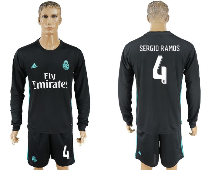 Men 2017-2018 club Real Madrid away long sleeve 4 black soccer jersey