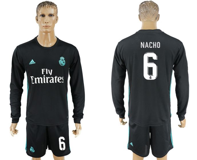 Men 2017-2018 club Real Madrid away long sleeve 6 black soccer jersey