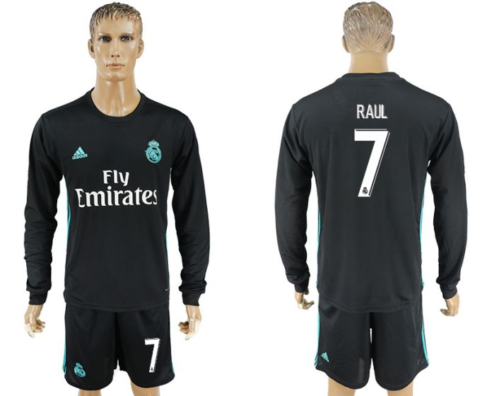 Men 2017-2018 club Real Madrid away long sleeve 7 Raul black soccer jersey