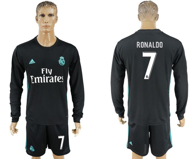 Men 2017-2018 club Real Madrid away long sleeve 7 black soccer jersey
