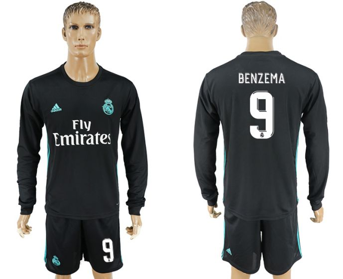 Men 2017-2018 club Real Madrid away long sleeve 9 black soccer jersey