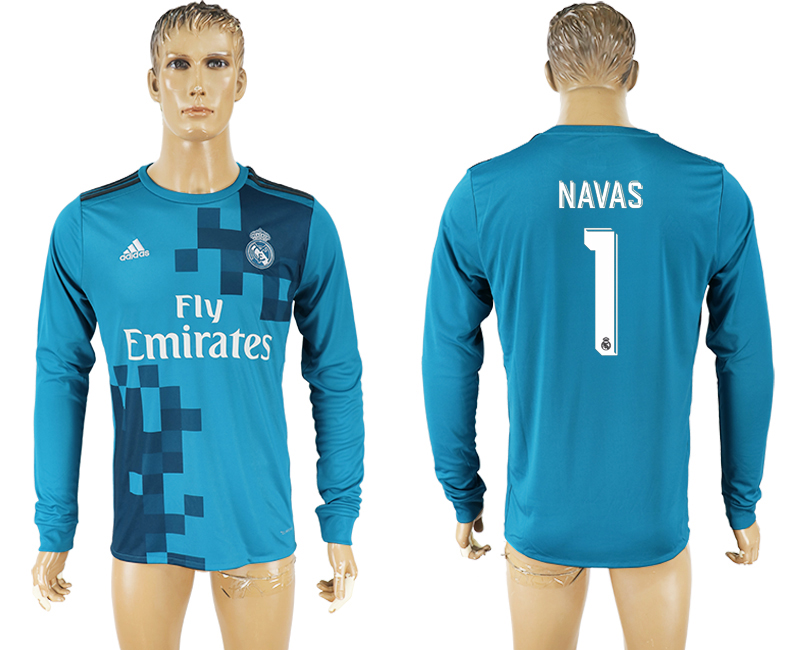 Men 2017-2018 club Real Madrid away long sleeve aaa version 1 soccer jersey