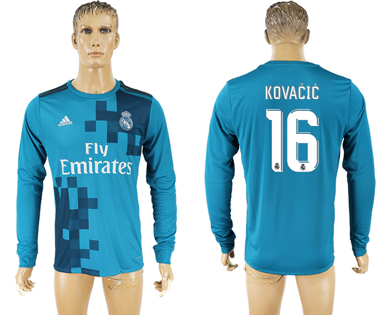 Men 2017-2018 club Real Madrid away long sleeve aaa version 16 soccer jersey