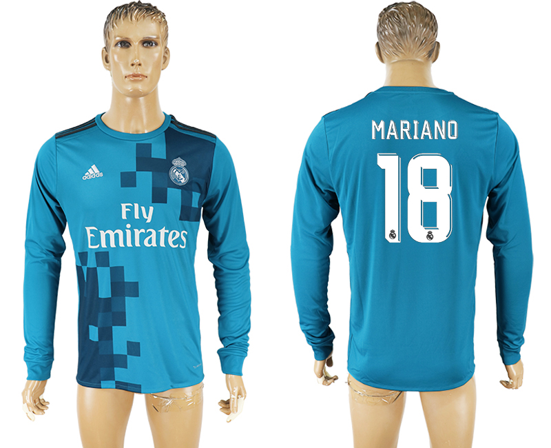 Men 2017-2018 club Real Madrid away long sleeve aaa version 18 soccer jersey