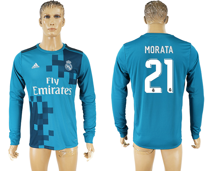 Men 2017-2018 club Real Madrid away long sleeve aaa version 21 soccer jersey