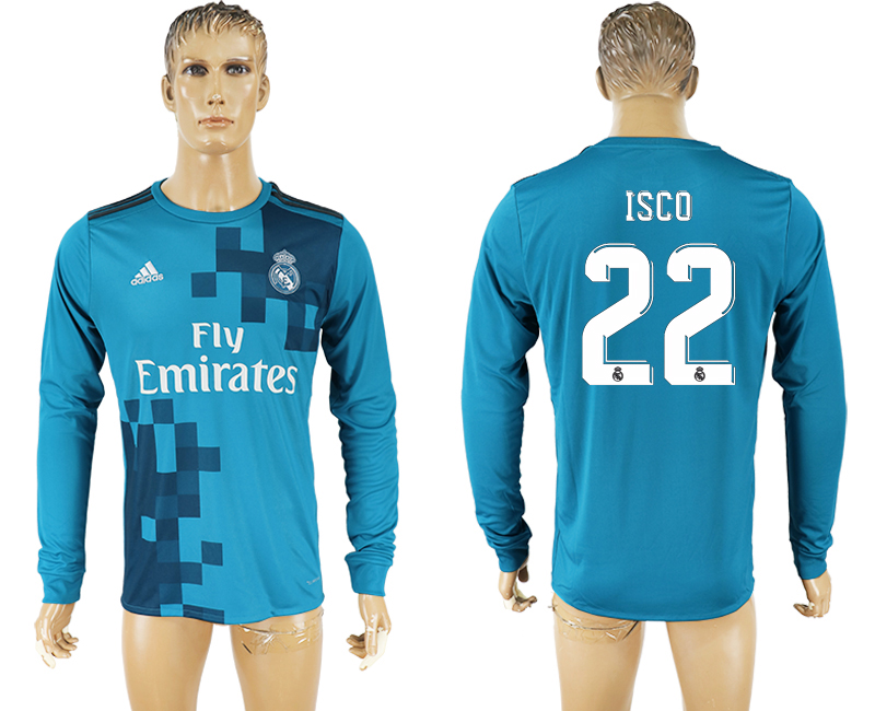 Men 2017-2018 club Real Madrid away long sleeve aaa version 22 soccer jersey