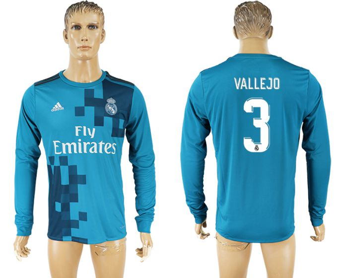 Men 2017-2018 club Real Madrid away long sleeve aaa version 3 blue soccer jersey