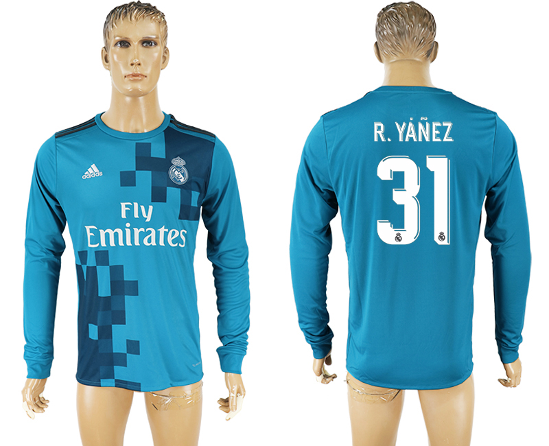 Men 2017-2018 club Real Madrid away long sleeve aaa version 31 soccer jersey