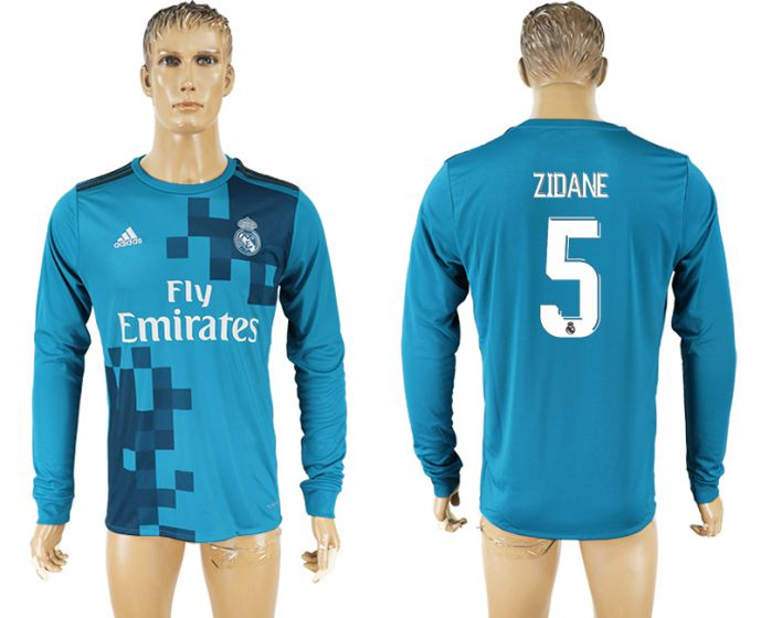 Men 2017-2018 club Real Madrid away long sleeve aaa version 5 blue soccer jersey