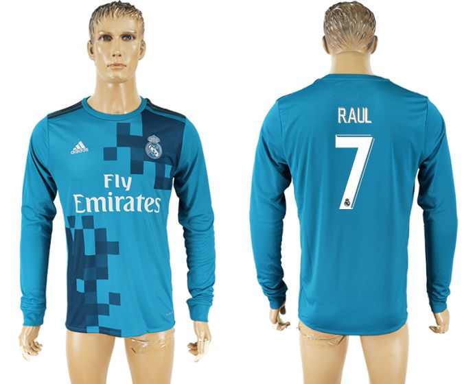 Men 2017-2018 club Real Madrid away long sleeve aaa version 7 blue soccer jersey