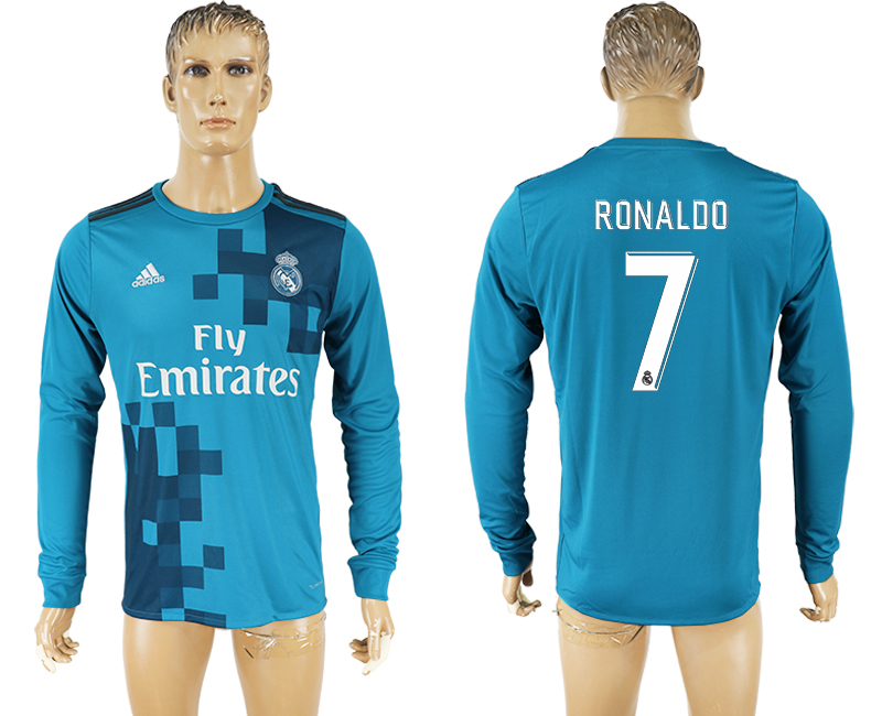 Men 2017-2018 club Real Madrid away long sleeve aaa version 7 soccer jersey