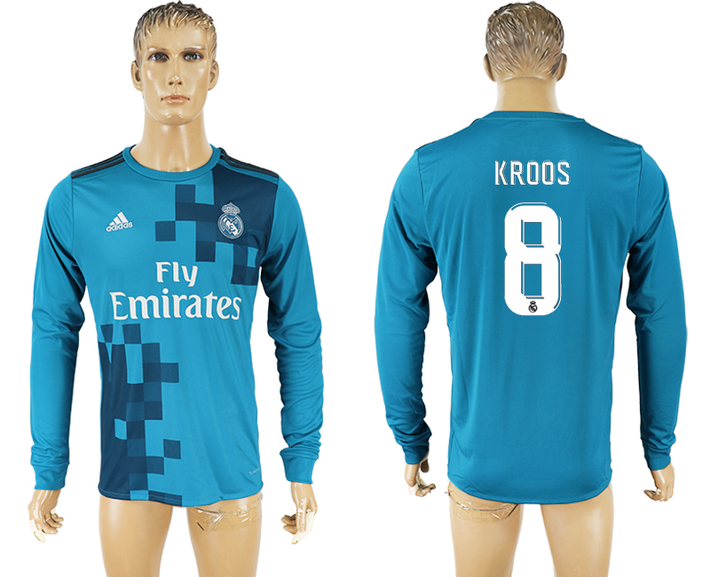 Men 2017-2018 club Real Madrid away long sleeve aaa version 8 soccer jersey