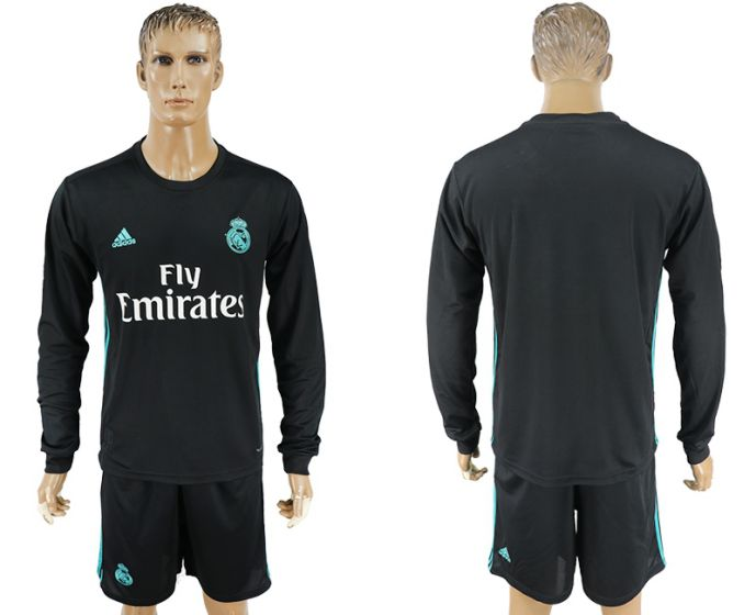 Men 2017-2018 club Real Madrid away long sleeve black soccer jersey
