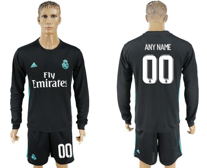 Men 2017-2018 club Real Madrid away long sleeve customized black soccer jersey