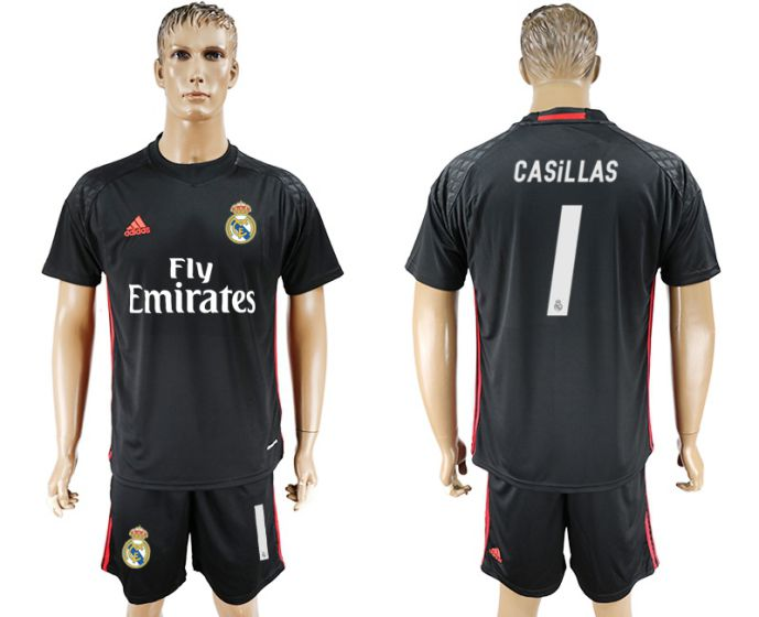 Men 2017-2018 club Real Madrid black goalkeeper 1 Casillas black soccer jersey