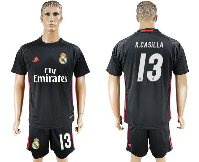 Men 2017-2018 club Real Madrid black goalkeeper 13 black soccer jersey