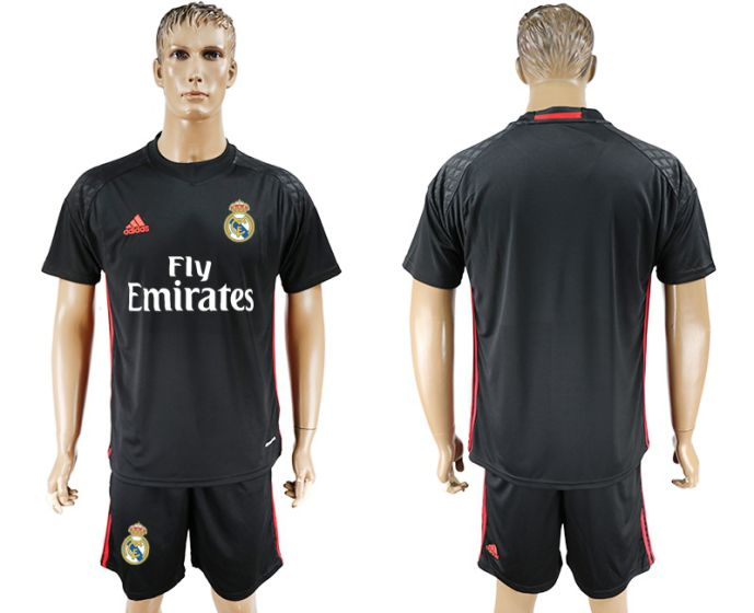 Men 2017-2018 club Real Madrid black goalkeeper black soccer jersey