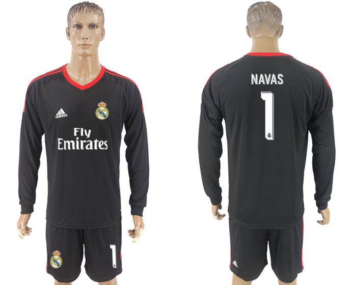 Men 2017-2018 club Real Madrid black goalkeeper long sleeve 1 Navas black soccer jersey