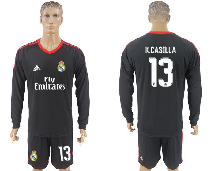 Men 2017-2018 club Real Madrid black goalkeeper long sleeve 13 black soccer jersey