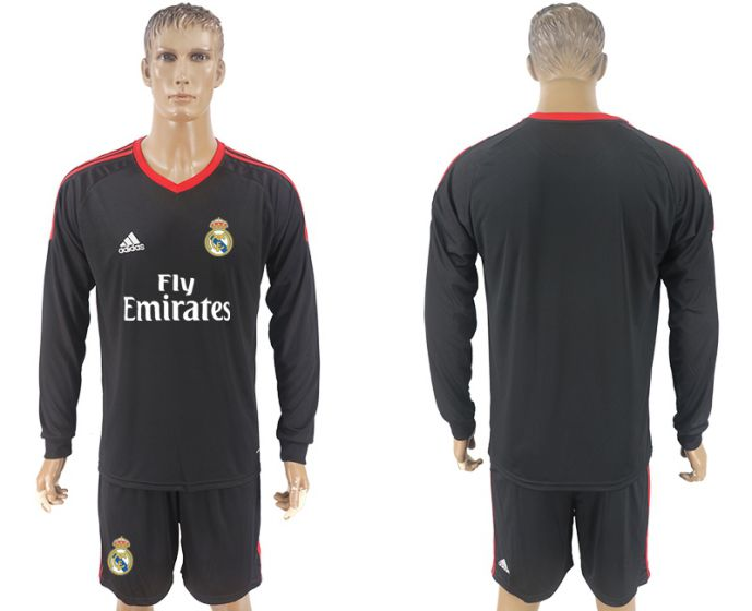 Men 2017-2018 club Real Madrid black goalkeeper long sleeve blank black soccer jersey